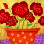 Folk Art Paintings - Rose-a-go-go by John Blake