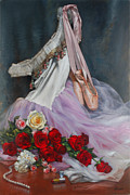 Margot Painting Framed Prints - Rose Adagio Framed Print by Lyndall Bass