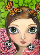 Jaz Paintings - Rose Amongst the Butterflies by Jaz Higgins