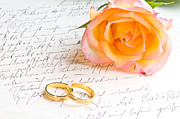 Engagement Photo Prints - Rose and two rings over handwritten letter Print by Ulrich Schade