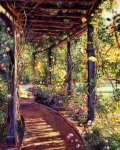 Impressionism Paintings - Rose Arbor Toluca Lake by David Lloyd Glover