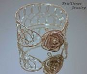 White Pearl Jewelry - Rose Bangle in Silver with Crystals and Pearls by Brittney Brownell