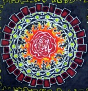 Rose Tapestries - Textiles - Rose Batik by Kevin Baker