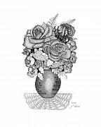 Bible Drawings Metal Prints - Rose Bouquet Metal Print by Judy Cheryl Newcomb