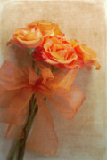 Orange Roses Framed Prints - Rose Bouquet Framed Print by Rebecca Cozart