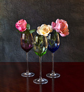 Glass Table Reflection Art - Rose Colored Glasses by Peter Chilelli