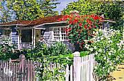 Gardenscape Paintings - Rose Cottage  by David Lloyd Glover