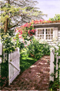 Fences Prints - Rose Cottage Gate Print by David Lloyd Glover