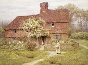 Stone Cottage Paintings - Rose Cottage by Helen Allingham