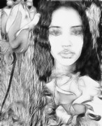 Black White And Sepia Art - Rose by Devalyn Marshall