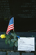 Vietnam Veterans Memorial Photos - Rose, Flag, And Note Of Remembrance by Klaus Nigge