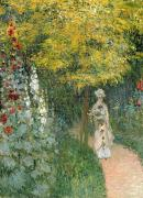 Promenade Prints - Rose Garden Print by Claude Monet