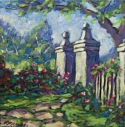 Original  By Artist Paintings - Rose Garden by Richard T Pranke