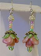 Earrings Jewelry - Rose Garden with sterling wires by Cheryl Brumfield Knox