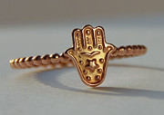 Ring Jewelry - ROSE gold filled Hamsa Khamsa Miriam Hand Stack Ring Hamsa Stackable Ring Good luck ring Judaica by Nadina Giurgiu