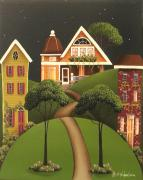 Primitive Painting Posters - Rose Hill Lane Poster by Catherine Holman