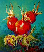Daisies Paintings - Rose Hips by Marion Rose
