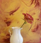 Still Life With Pitcher Art - Rose In A Pitcher by Marsha Heiken