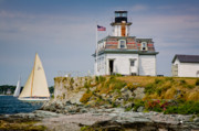 Sail Boat Posters - Rose Island Light Poster by Susan Cole Kelly