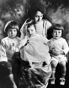Hair Cuts  Photos - Rose Kennedy With Her Three Eldest by Everett