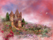 Romantic Art Print Prints - Rose Manor Print by Carol Cavalaris