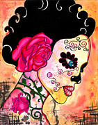 Dia De Los Muertos . Mexican. Face   Skull Paintings - Rose Noose by B Marie