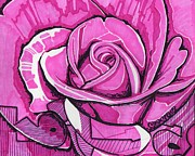 Floral Drawings Originals - Rose One by Will Stevenson