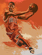Basketball Digital Art Originals - Rose Pastel Poster by Adam Barone