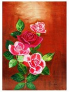 Handmade Paintings - Rose by Purnima