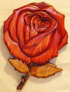 Intarsia Sculpture Framed Prints - Rose Framed Print by Russell Ellingsworth