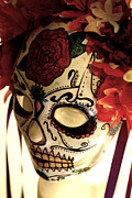 Day Sculpture Posters - Rose Sugar Skull Mask Poster by Mitza Hurst