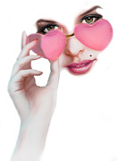 Woman Face Prints - Rose Tinted Love Variant 1 Print by Andrew Farley