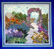 Rose Tapestries - Textiles Framed Prints - Rose Trellis Garden Framed Print by Sarah Hornsby