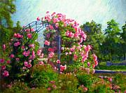 Rose Garden Painting Framed Prints - Rose Trellis Framed Print by Michael Durst