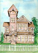 Victorian Buildings Paintings - Rose Victorian Inn - Arroyo Grande CA 1886 by Arline Wagner
