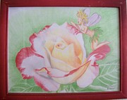 Multicolored Drawing Prints - Rose with Faery Print by Anne Provost