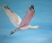 Spoonbill Paintings - Roseate Spoonbill in Full Flight by Jimmie Bartlett
