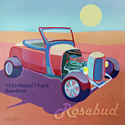 Hot Rod Digital Art Posters - Rosebud Model T Roadster Poster by Evie Cook