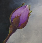 Rosebud Paintings - Rosebud Purple by Hellenne Vermillion