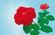 Rosepleasure-blue Print by Eakaluk Pataratrivijit