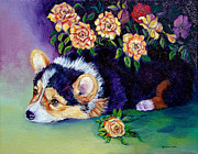 Puppies Paintings - Roses - Pembroke Welsh Corgi by Lyn Cook
