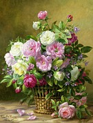 Flower Basket Framed Prints - Roses  Framed Print by Albert Williams