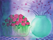 Cherry Blossoms Painting Prints - Roses and Cherry Blossoms Print by Midge Lilja