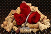 Wine Bottle Pyrography Prints - Roses and Corks Print by Sinners Andsaintsstudio