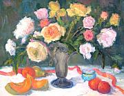 Cantaloupe Paintings - Roses and Fruit by Bunny Oliver