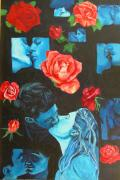 Couples Paintings - Roses and Kisses by Susan M Woods