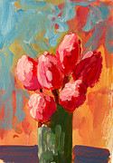 Pink Flower Prints Painting Prints - Roses are Pink Print by Patricia Awapara