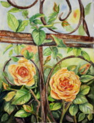 Trellis Paintings - Roses At Garden Fence by Patricia Pushaw