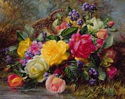 Still Life Tapestries Textiles Prints - Roses by a Pond on a Grassy Bank  Print by Albert Williams