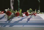 Coffins Framed Prints - Roses Cover The Casket Of An  Officer Framed Print by Stephen St. John